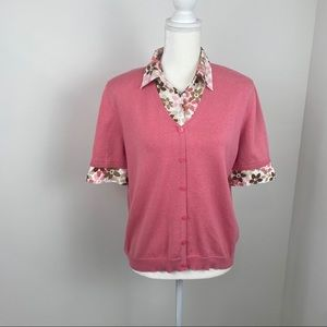 Alfred Dunner short sleeve pink sweater.